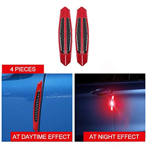 4PCS Car/Auto Door Blue/Yellow/White/Red Warning Light Reflector Reflective Strip Sticker Luminous Night Light Funny Universal Red Light A 4PCS