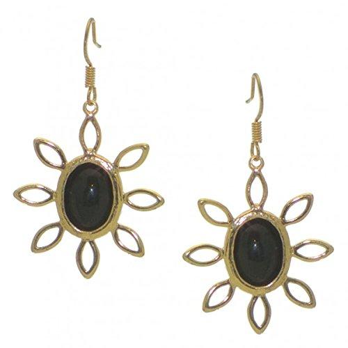SUNFLOWER gold tone black hook earrings