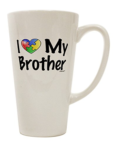 TooLoud I Heart My Brother - Autism Awareness 16 Ounce Conical Latte Coffee Mug (Awareness Puzzle Ribbon Style)