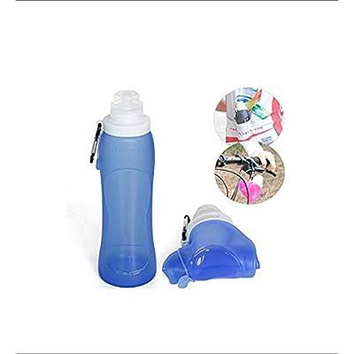 Foopp pliante en silicone bouteilles d'eau Sport Voyage Outdoor Mini Eau bouilloire Sports Bouteille d'eau (Bleu)