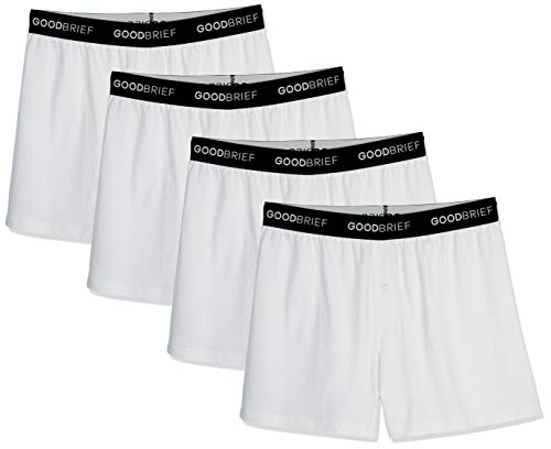 Good Brief Men's 4-Pack Classic Cotton Stretch Knit Boxer X-Large White Basic Waistband (Knit Basic Boxer)