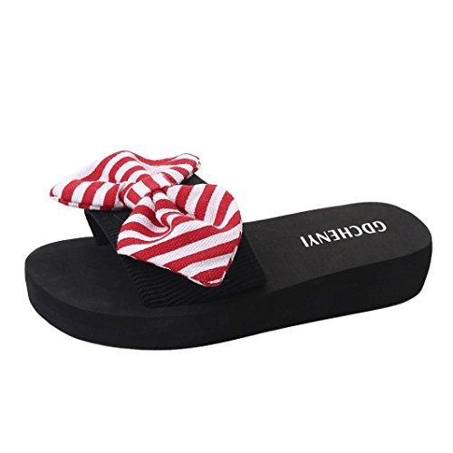 flops Flip Innendørs Sandaler Røde Kvinner Huhu833 Stranden Utendørs Tøffel Sommer Bow wBSFY0qU