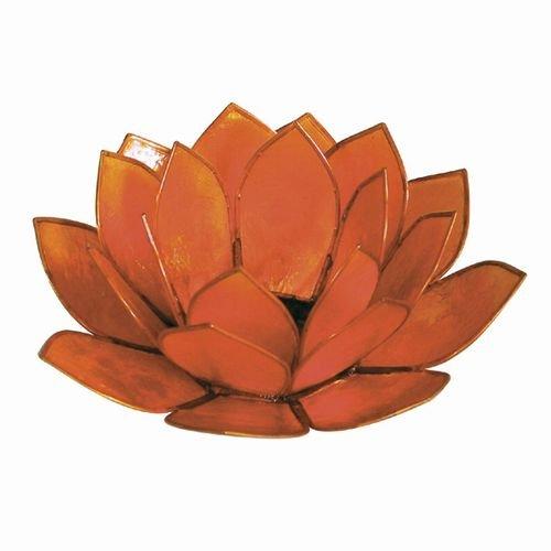 World Buyers Capiz Tea Light Holder, Three rings of translucent capiz shell petals-Flickering Light Decor Measures 5''DIA (Orange)