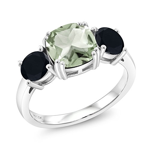 2.97 Ct Cushion Green Prasiolite Black Onyx 925 Sterling Silver Meghan Ring (Size 8) by Gem Stone King