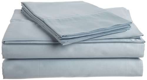 Tuscany Fine Linens (Tuscany Fine Italian Linens Milange 300 Thread Count Egyptian Cotton Sateen Queen Sheet Set, Soft Blue)