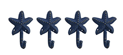 Privilege Cast Iron Decorative Wall Hooks Set Of 4 Distressed Blue Finish Cast Iron Starfish Wall Hooks 3.25 X 4.5 X 1.75 Inches Blue by Privilege