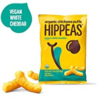 Hippeas Organic Chickpea Puffs  Organic Chickpea Puffs + Vegan White Cheddar | 1.5 ounce, 12 count | Vegan, Gluten-Free, Crunchy, Protein Snacks