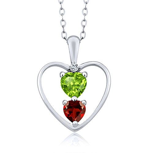 0.84 Ct Heart Shape Green Peridot Red Garnet 925 Sterling Silver Pendant With 18 Inch Chain Necklace With 18 Inch Silver Chain