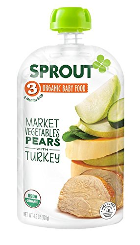 Sprout Organic Baby Food Stage 3 Pouches, Market Vegetables Pears with Turkey, 4.5 Ounce (Pack of 5)