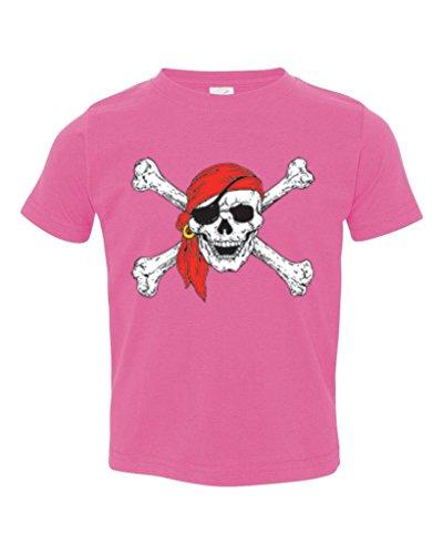 (P&B Pirate Skull Red Bandanna Toddler T-Shirt, 4T, Pink)