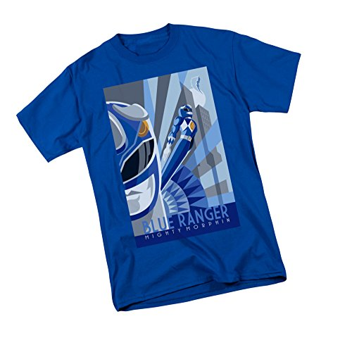 Blue Ranger Deco -- Mighty Morphin Power Rangers Adult T-Shirt, Large