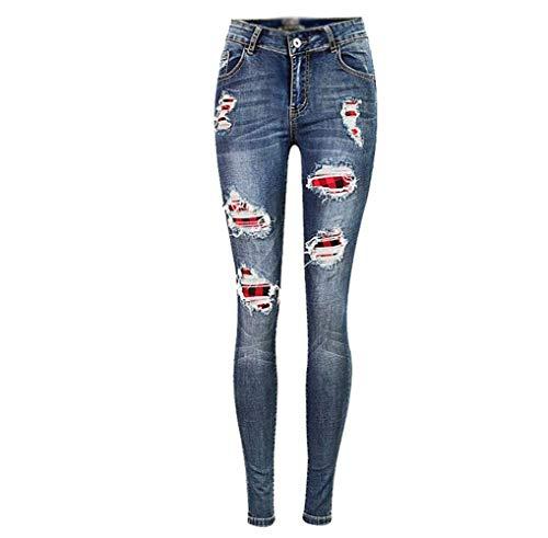Blau Alta Vaqueros Para Con De Pantalones Elásticos Mujer Cintura Ajustados Mujeres Bolsillos Jeans Casuales Rotos Parche ZFSqx