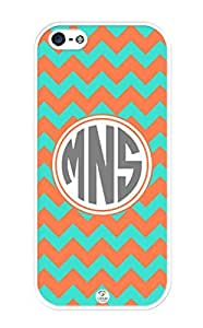 iZERCASE Monogram Personalized Turquoise and Coral Chevron Pattern iphone 5 / iPhone 5S case - Fits iphone 5, iPhone 5S T-Mobile, AT&T, Sprint, Verizon and International (White)