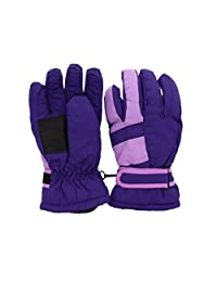 Waterproof Stripe Ski Gloves for Youth - Purple