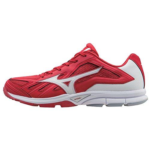Mizuno Men's Players Trainer Baseball Training Shoe - Red & White (Men's 11.5)