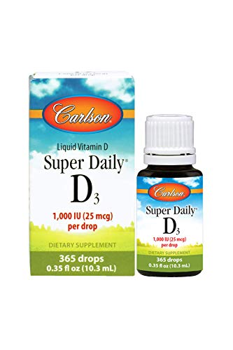 Carlson Super Daily D3 1,000 IU (25 mcg), Heart & Immune Health, Teeth & Bone Support, Unflavored, 365 Drops