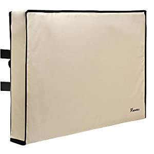 "Outdoor TV Cover 22""-24"" - Weatherproof - Fully covered - Universal for Any Mount and Stand - Beige"