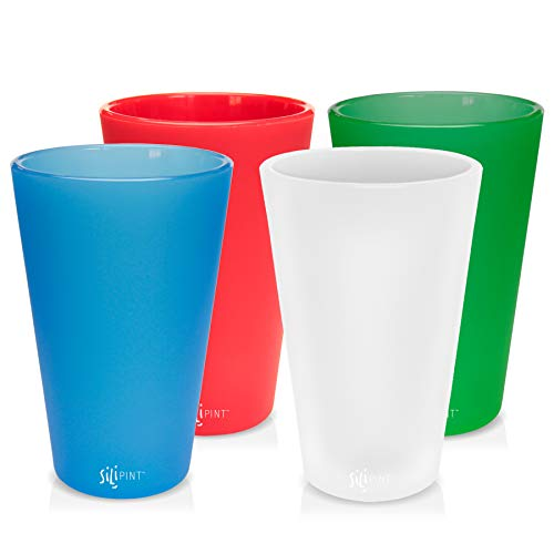 Silipint Silicone Pint Glass Set, Patented, BPA-Free, Shatter-proof, Unbreakable Silicone Cup Drinkware - One of Each Pint Glass - Frosted White, Riccochet Red, Bend Blue, Emerald Green by Silipint (Image #1)