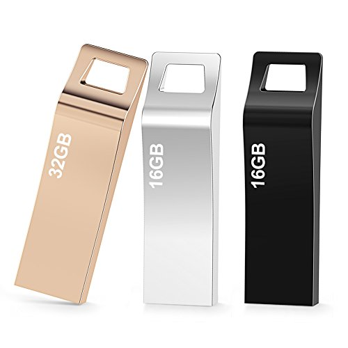 TOPESEL 3 Pack 16GB/16GB/32GB USB 2.0 Flash Drives Metal Memory Stick Waterproof Thumb Drive (3 Mixed Colors: Black, Gold, Silver) by TOPESEL