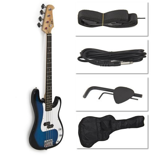 Blue-Electric-Bass-Guitar-Includes-Strap-Guitar-Case-Amp-Cord-and-More