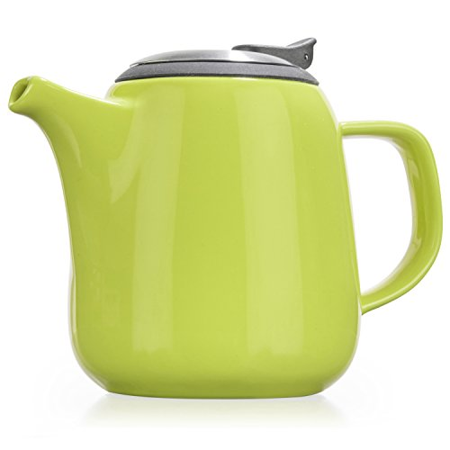 Tealyra - Daze Ceramic Teapot in Lime - 24-ounce (2-3 cups) - Small Stylish Ceramic Teapot with Stainless Steel Lid and Extra-Fine Infuser To Brew Loose Leaf Tea - Dishwasher-safe - BPA and Leed-Free