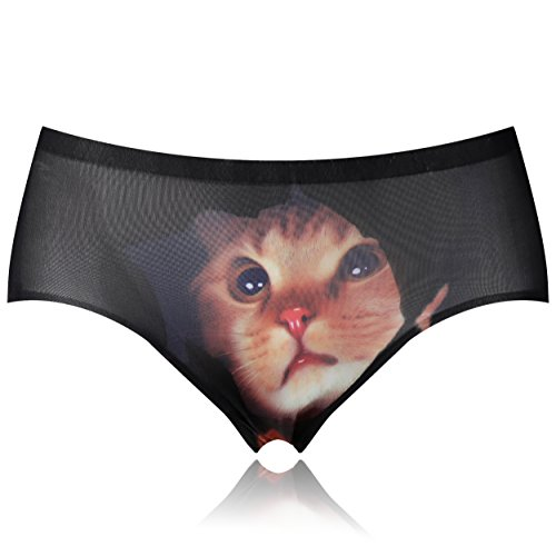 - MBOX Smooth Traceless Lingerie Sexy Cat Printed Hipsters Anti-exposure Panty (BLACK)
