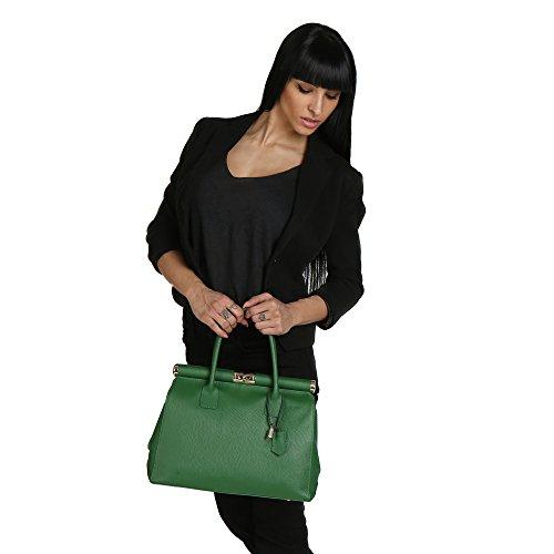 Véritable Femme En Sac Italie Main Cuir Chicca Borse Fabriqué 35x28x16 Cm Vert À Épaule Avec FgSzwqp