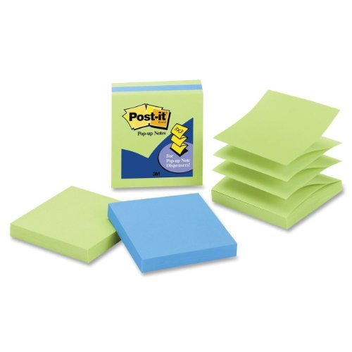 Post-it Pop-up Notes, 3 in x 3 in, Assorted Colors, 3 Pads/Pack, 100 Sheets/Pad (3301-3AU-LE)
