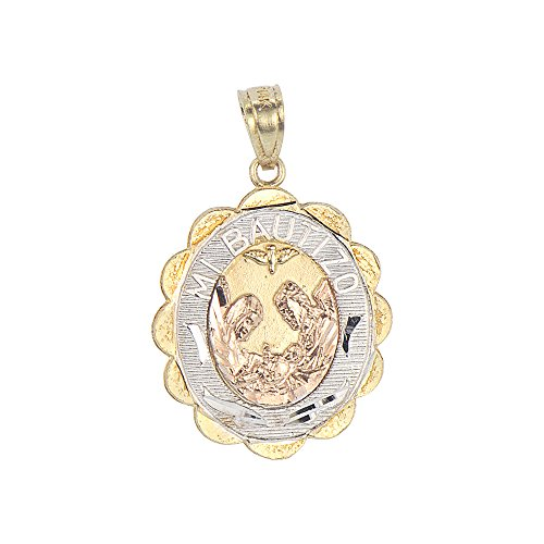 14k Tricolor Gold, Mi Bautizo Baptism Christening Medal Pendant Religious Charm Oval 17mm Tri Color Religious Charm Medal