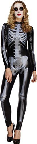 Cat Girl Costume Child Uk (Smiffy's Women's Fever Miss Whiplash Skeleton Costume, Printed Catsuit, Halloween, Fever, Size 10-12, 43838)