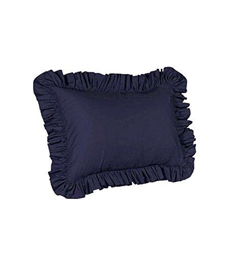 SplendidHome Ruffled 2 Piece Pillow Sham Covers 100% Cotton Sateen King 20 inch x 40 inch, Navy Blue