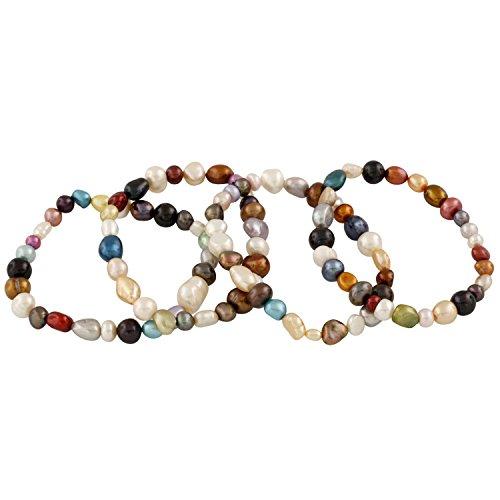 Splendid Pearls Set of 4 Stretch Bracelets, dyed multicolor, mixed shape, 7