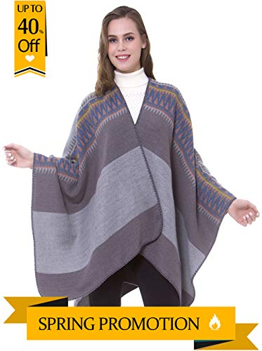 sunseen Women's Multifunctional Shawl Wrap Oversized Open Front Poncho Cape Unique Blanket Scarf Soft Winter Pashmina Cardigans (Style 7)