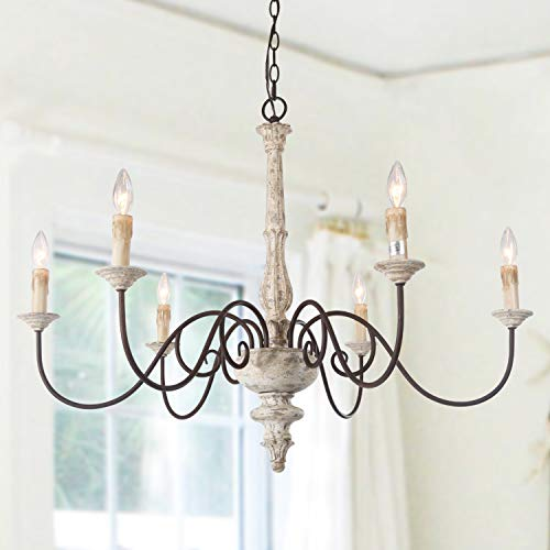 "LALUZ 6-Light French Country Chandelier Distressed Lighting for Dining Rooms, 28""H x 37""L ()"