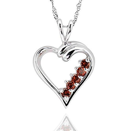 GemsChest Sterling Silver Round Garnet Open Heart Pendant Necklace 18