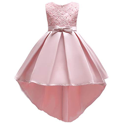(Flower Girl High Low Tutu Dresses Kids Princess Pageant Bridesmaid Wedding Party Dress Little Big Girls First Communion Birthday Dress Pleated Ruffle Skirt Formal Evening Dance Prom Gowns Pink 7-8Y)
