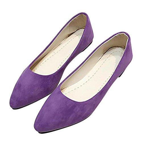 Estimado Tiempo Mujeres Punta Estrecha Zapatos Sin Forro Pisos Púrpura
