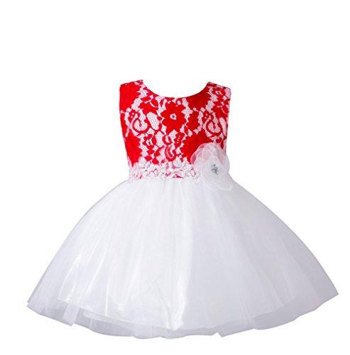 ZAMME Vestidos formales del partido del baile del bautismo del bautizo de la niña Bautismo Rojo