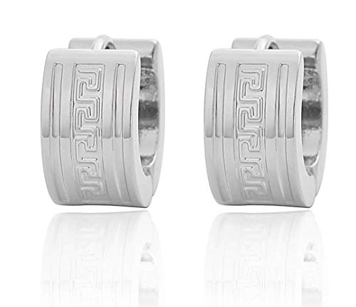 - Edforce Stainless Steel Greek Key Wall Pattern Huggie Hoop Earrings (Silver)