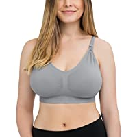 Seamless Sublime Nursing Bra for Breastfeeding and Maternity (Grey, Large)