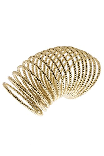 DIVA & DUCHESS STYLISH ETCHED EXTRA LONG SPIRAL RING (Gold)