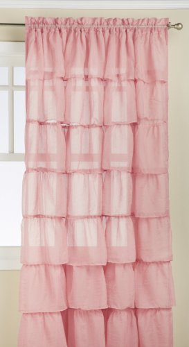 Lorraine Home Fashions Gypsy Shabby Chic Layered Ruffle - Shabby Chic Pink Curtains