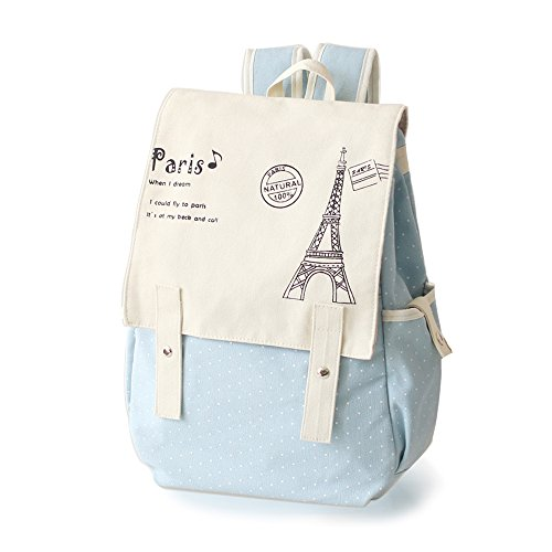 Fashion Cute Womens Bag Canvas Satchel Girls Lovely Sweet Paris Eiffel Tower Design Backpack Schoolbag by DGQ