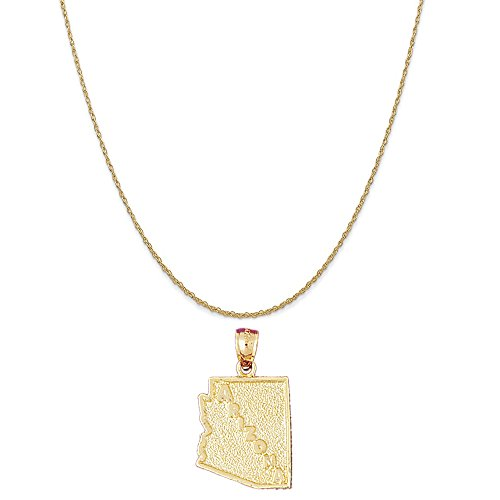 14k Yellow Gold Arizona Pendant on a 14K Yellow Gold Rope Chain Necklace, 18