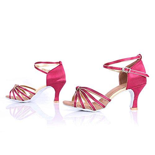 HROYL Zapatos de baile/Zapatos latinos de satén mujeres ES7-F17 7CM Rosado