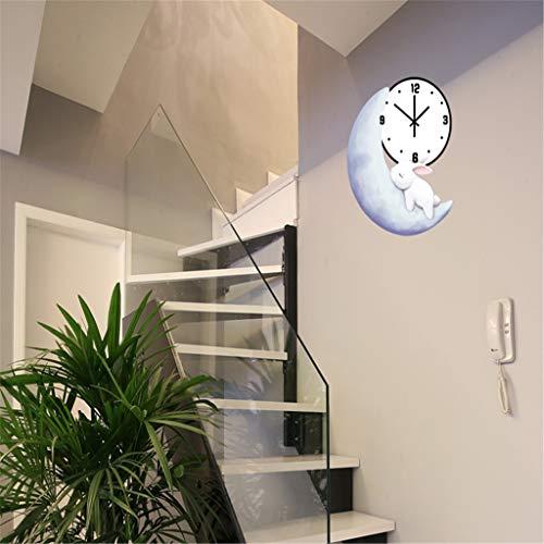 Zdtxkj Wood Cute Moon Bunny Wall Clock Mute Quiet Bedroom Living Room Kids Room Kindergarten Clocks Fashion Wall Clocks