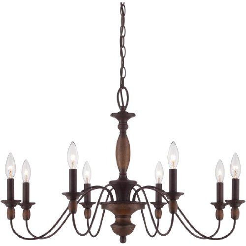 Cheap Quoizel HK5008TC Holbrook Chandelier, 8-Light, 480 Total Watts (19.5H x 29W Inches) Tuscan Brown
