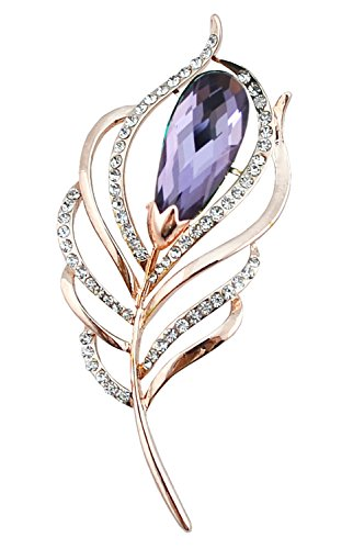- Gyn&Joy Gold Tone Purple Crystal Rhinestone Peacock Feather Plume Brooch Pin BZ008