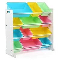 Organizador de almacenamiento de juguetes para niños Tot Tutors con 12 contenedores de plástico, blanco /pastel (Colección Pastel)