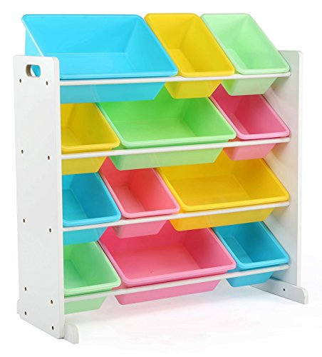 Tot Tutors Kids' Toy Storage Organizer with 12 Plastic Bins, White/Pastel (Pastel -